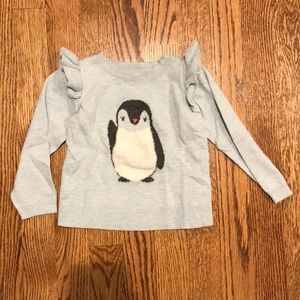 Gap 3T Blue Penguin Ruffle Sweater